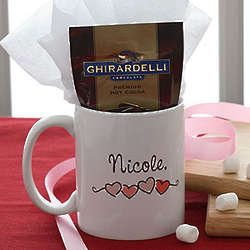 Personalized Heart Mug and Hot Cocoa Gift Set