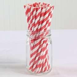 Red Vintage Paper Straws
