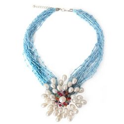 Bold Blue Marigold Cultured Pearl and Quartz Flower Necklace