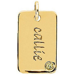 14K Yellow Gold Engraved Mini Dog Tag Pendant
