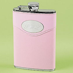 Monogrammed Flask with Pink Cover