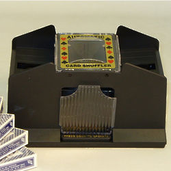 Four-Deck Shuffler with Playing Cards