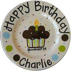 "Personalized 8"" Ceramic Polkadot Cupcake Birthday Plate"