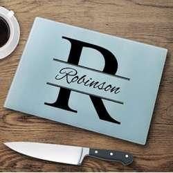 Stamped Initial Design Personalized Glass Cutting Board