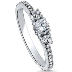 3-Stone Round Cut CZ Sterling Silver Promise Ring