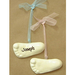 Personalized Ceramic Baby Footprint Ornament