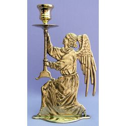 Shiny Brass Angel Candle Holder