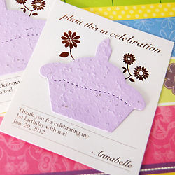 Personalized Birthday Cupcake Seed Card Favor