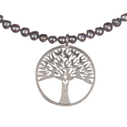 Tree of Life Pendant and Black Fresh Water Pearl Necklace