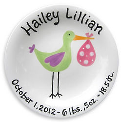 Personalized Just Arrived Girl's Stork Plate