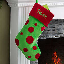 Personalized Polka Dot Christmas Stocking