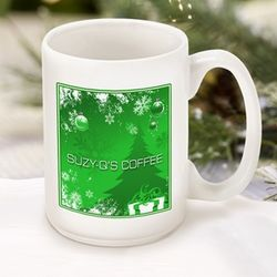Personalized Green Holiday Coffee Mug