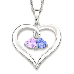 Sterling Silver Couples Birthstone Hearts Necklace