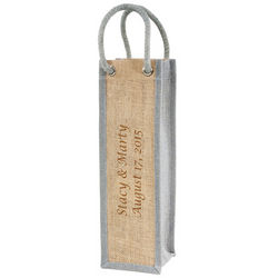 Personalized Jute Wine Bag with Rope Handle