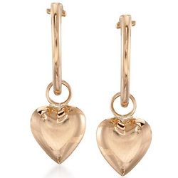 Child's 14kt Yellow Gold Heart Hoop Earrings