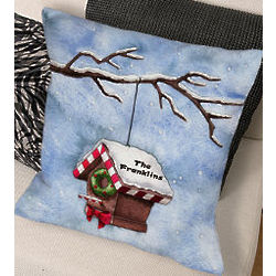 Personalized Christmas Birdhouse Throw Pillow