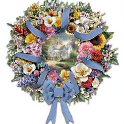 Thomas Kinkade Welcome Wreath with US State Official Flowers