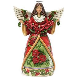 Christmas Angel with Poinsettia Table Figurine