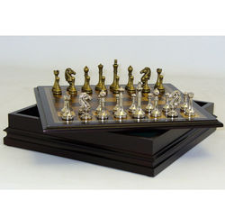 Metal Staunton Chess Set with Wooden Board