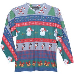 Crew Neck Subliminated Faux Ugly Christmas Sweater T-Shirt