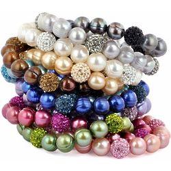 Pop Star Pearl and Pavé Crystal Stretch Bracelet