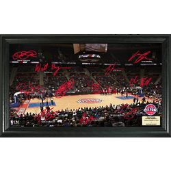 Detroit Pistons Basketball Court Photograph with Signatures