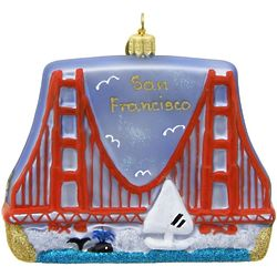 Golden Gate Bridge Blown Glass Christmas Ornament