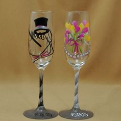 Personalized Bride and Groom Toasting Glasses