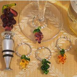 Murano Art Deco Grape Wine Stopper and Bottle Charms