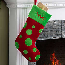 Personalized Red Polka Dots Christmas Stocking