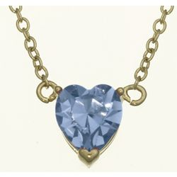 Solitaire Heart March Birthstone Pendant