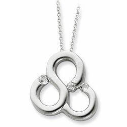 Cubic Zirconia Threefold Blessing Necklace in Sterling Silver