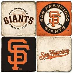 San Francisco Giants Tumbled Italian Marble Coasters