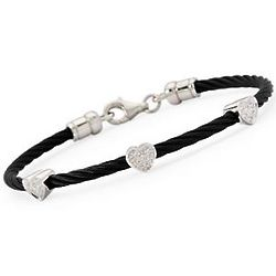 Diamond Accented Hearts Stainless Steel Rope Twist Bracelet