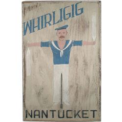 Nantucket Whirligig Handpainted Wood Sign