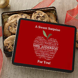 Apple Scroll for Teachers Personalized Gift Tin