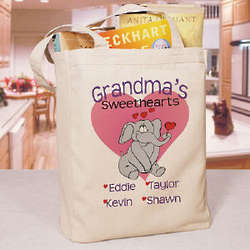 Elephant Sweethearts Personalized Canvas Tote Bag
