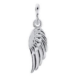 14K White Gold Posh Mommy Angel Wing Pendant