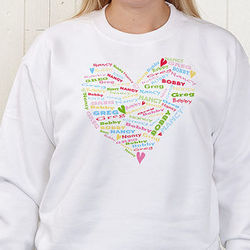 Her Heart of Love Personalized White Sweatshirt