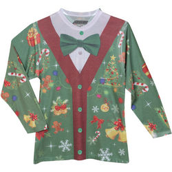 Cardigan Subliminated Faux Ugly Christmas Sweater T-Shirt