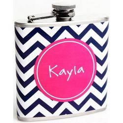 Chevron Print Design Personalized Flask