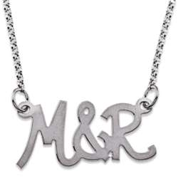 10K White Gold Uppercase Couple's Initial Necklace