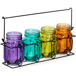 Colored Mason Jar Tealight Holders and Caddy Set