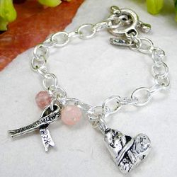 Silver Hope Breast Cancer Ribbon Charm Bracelet