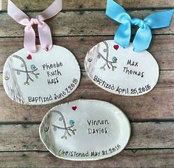 Personalized Bluebird Baptism Plaque or Dish