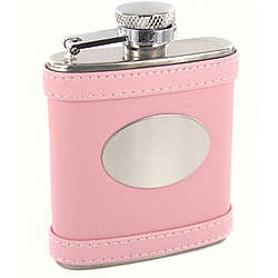 Personalized 2.5 oz. Pink Leather Flask