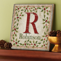 Personalized Family Initial and Name Large Holly Canvas