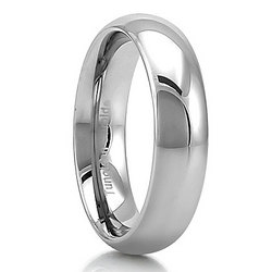 Tungsten Polished Dome Comfort Fit Band Ring