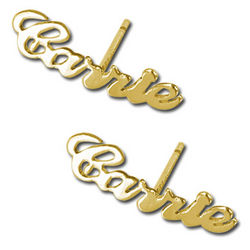 14K Gold Personalized Name Stud Earring