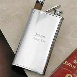 Stainless Steel Flask with Cigar Holder